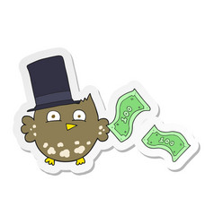 Sticker of a cartoon wealthy little owl with top vector