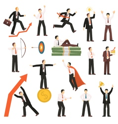 Successful Businessman Flat Icons Collection vector