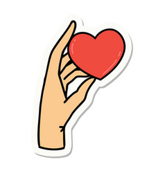 Tattoo style sticker a hand holding a heart vector