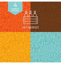 Thin Line Oktoberfest Beer Holiday Patterns Set vector image
