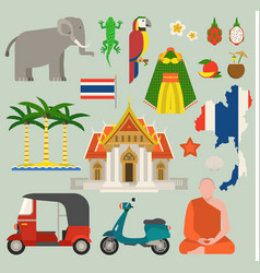 Travel thailand flat icons design vector