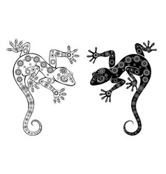 two monochrome geckos vector image