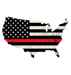 Usa firefighter support thin red line vector