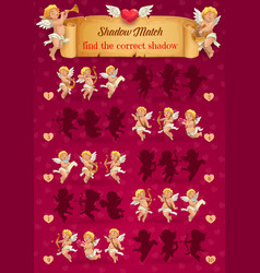 Valentine day kid shadow matching game with cupids vector