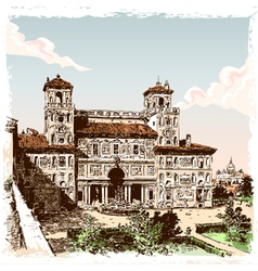 vintage hand drawn view villa borghese in rome vector image