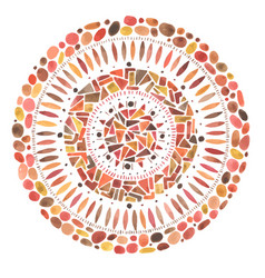 Watercolor hand drawn red mandala mosaic ornament vector