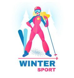 Winter sport label alpine slier girl in forest vector
