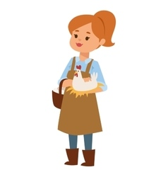 Woman and little chicken vector