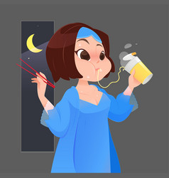 Woman in blue nightgown eating instant noodle vector