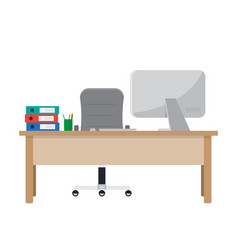 Workplace for worker desk with computer documents vector
