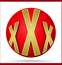 xxx icon in the form of a red ball vector image