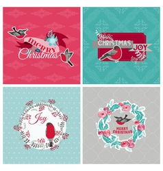 Christmas Cards with Birds and Wreath vector image vector image