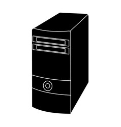 computer case icon in black style isolated on vector image
