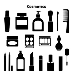 Cosmetic silhouettes set vector image vector image