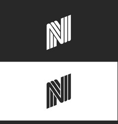 creative monogram letter n logo black and white vector image vector image