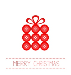 Gift box made from red buttons Christmas vector image vector image