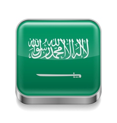Metal icon of Saudi Arabia vector image