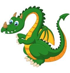 Cartoon funny green dragon vector