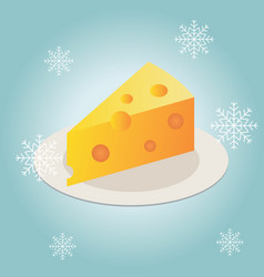cheese piece on a plate in winter flat icon vector image