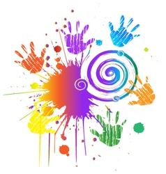 Hands print with ink splat vector image vector image