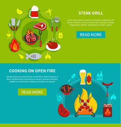 steak grill and cooking on open fire flat vector image