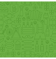 Thin Line Oktoberfest Holiday Seamless Green vector image