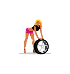Auto mechanic girl with wheel Tire service vector image vector image