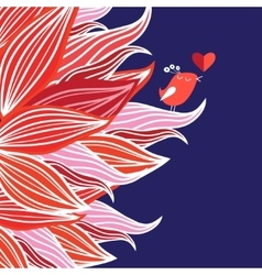 Floral background with bird in love vector image vector image