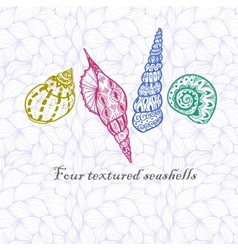 Four doodle seashells vector image vector image