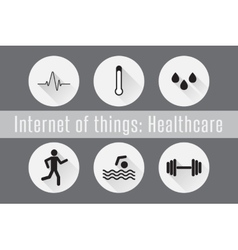 Internet of things iot- healthcare set of 6 flat vector
