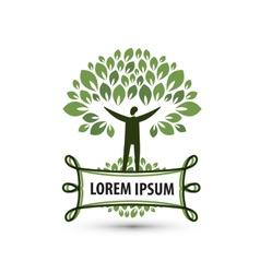 Natural product Nature and man Logo icon emblem vector image vector image
