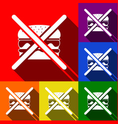 no burger sign set of icons with flat vector image