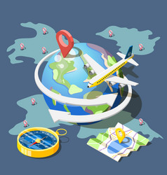 planning traveling isometric composition vector image vector image