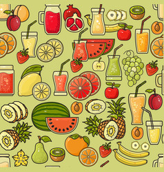 seamless pattern of colorful fruit juic vector image vector image