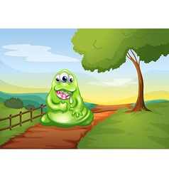 A monster walking while eating a lollipop vector image