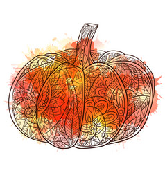 black and white doodle of pumpkin vector image