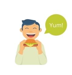 Happy boy eating a big hamburger vector image