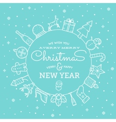 Line Style Christmas and New Year Greeting Banner vector image