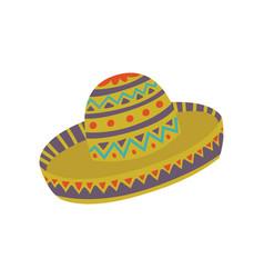 sombrero hat with mexican ornament cartoon vector image