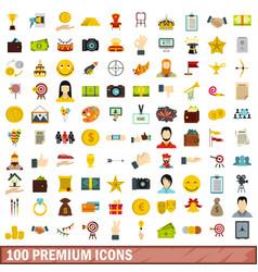 100 premium icons set flat style vector image