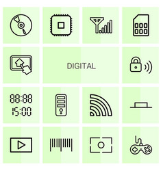 14 digital icons vector image
