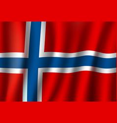 3d realistic wavy norway flag norwegian symbol vector