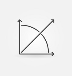 45 degrees angle outline icon - concept vector