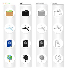 accessories travel flight and other web icon in vector image