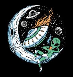 Alien drink coffee on moon vector