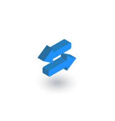 Arrows exchange isometric flat icon 3d vector