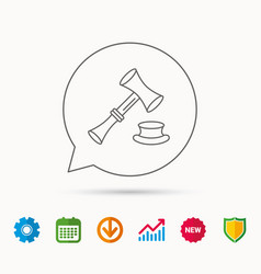 Auction hammer icon justice and law sign vector