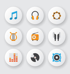 Audio icons flat style set with philharmonic ear vector