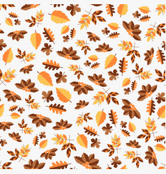 autumn color seamless pattern of leaves for vector image