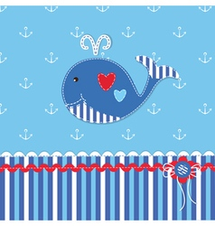 Baby background with cute whale vector image